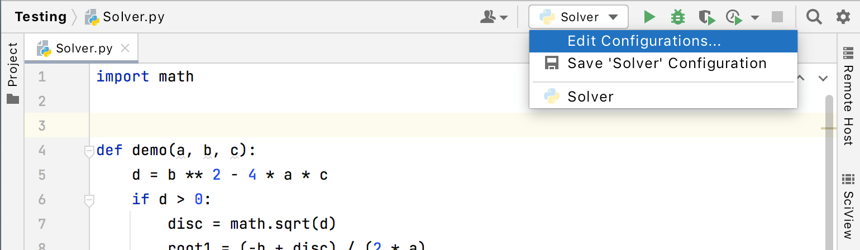 List of the run/debug configurations