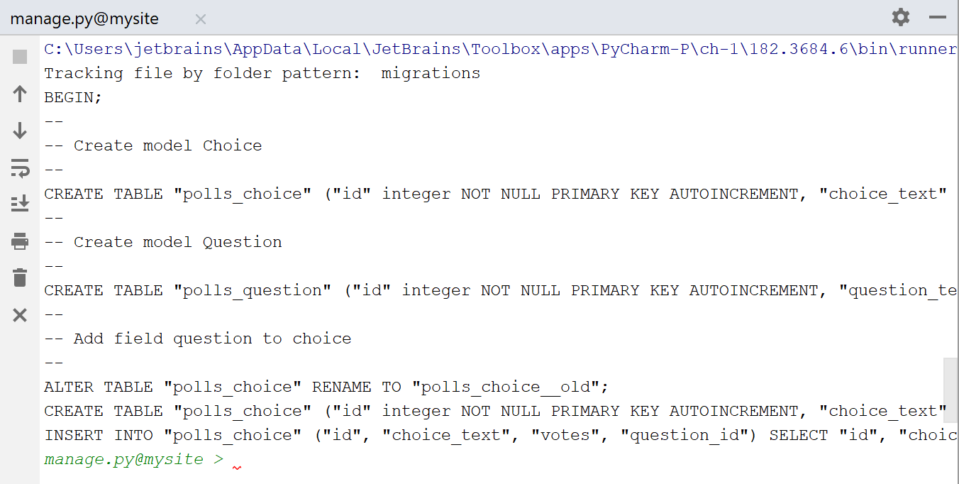 executing sqlmigrate pools 0001