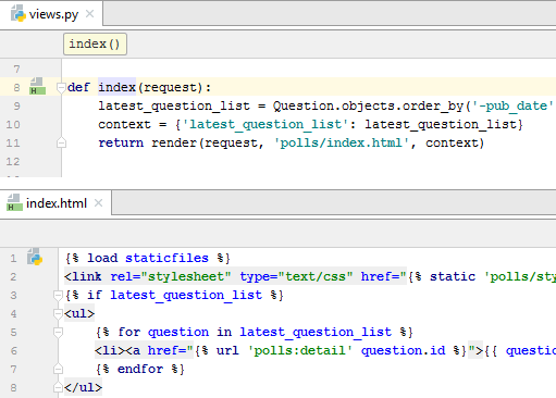 viewing html and python code