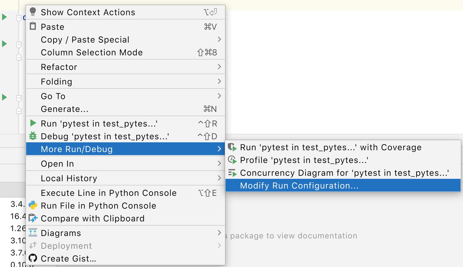 Create a Run/Debug Configuration for a test