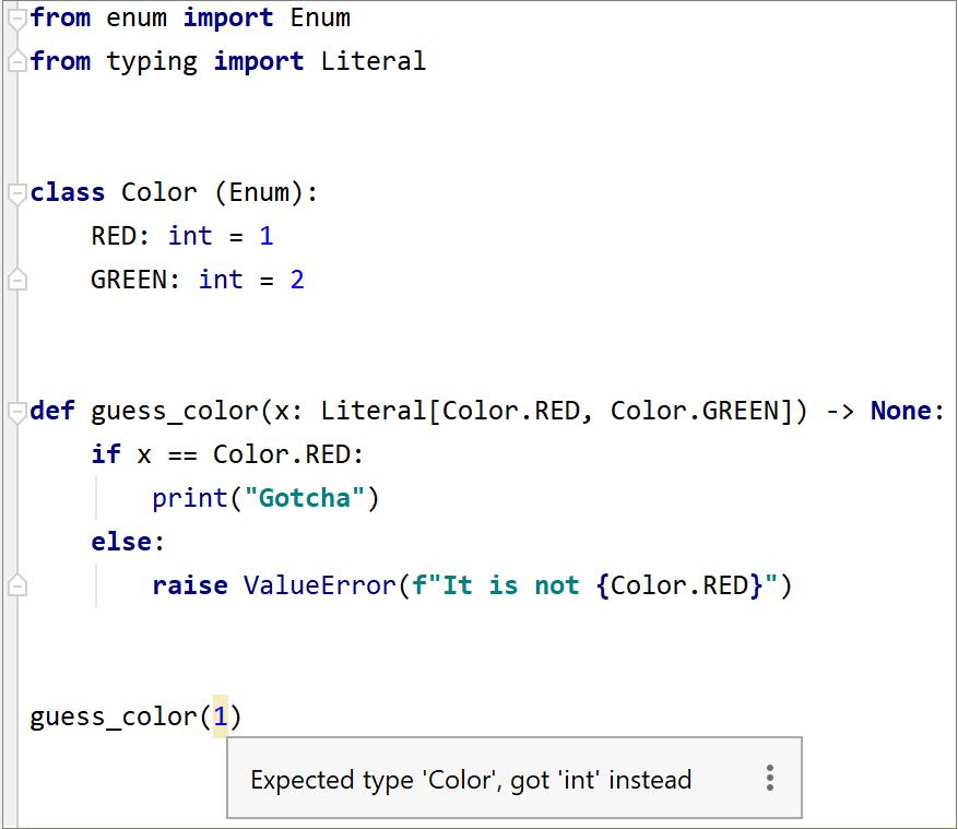 Literal type validation