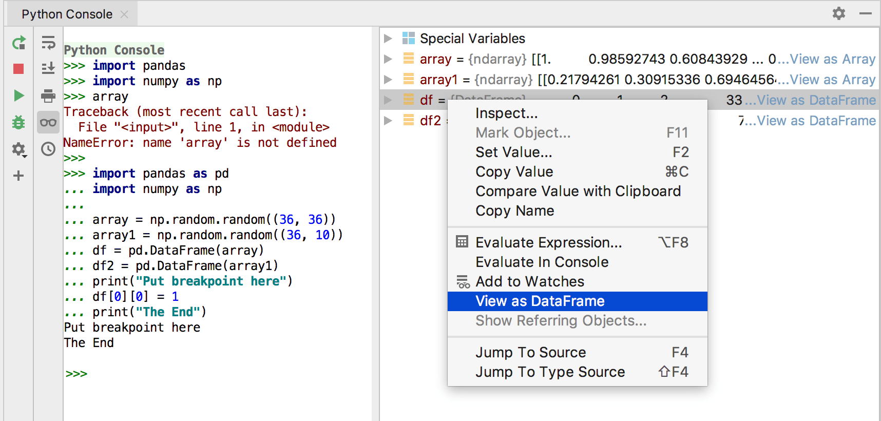Viewing variables in data frames when running from Python console