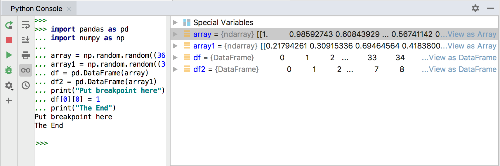 Viewing variables in array when running from Python console