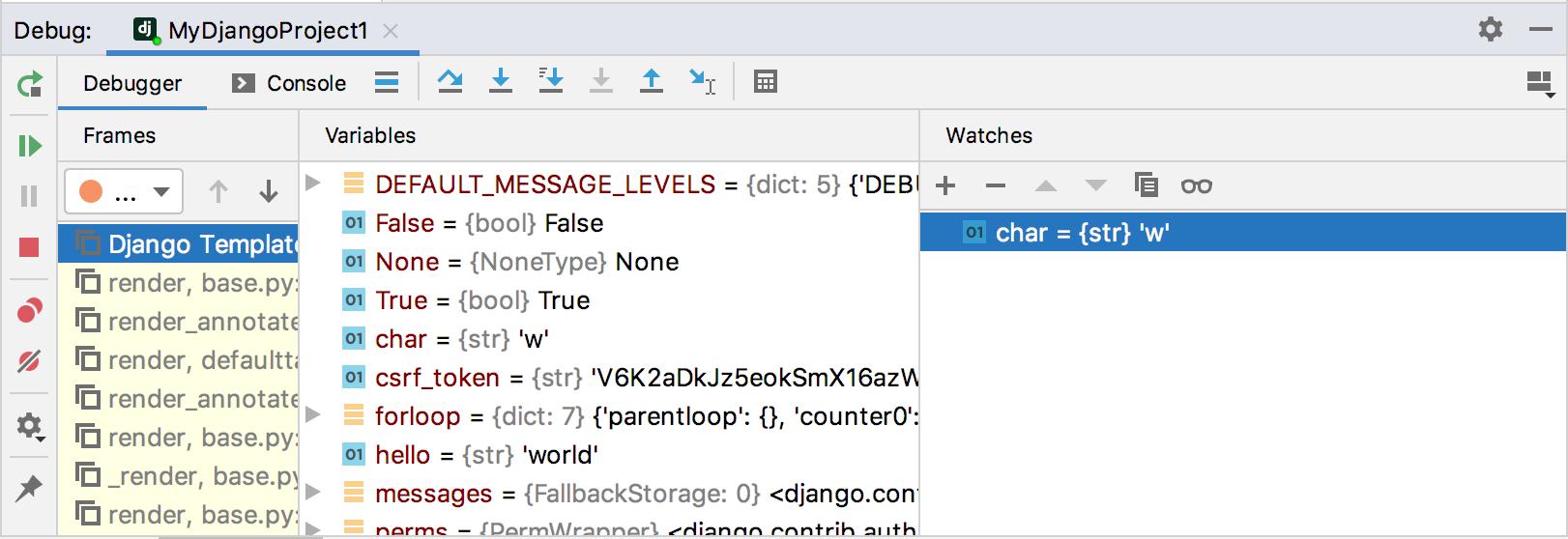 Watching in the debug tool window