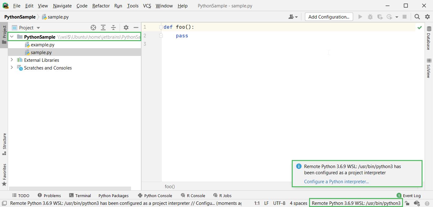 Configured WSL interpreter