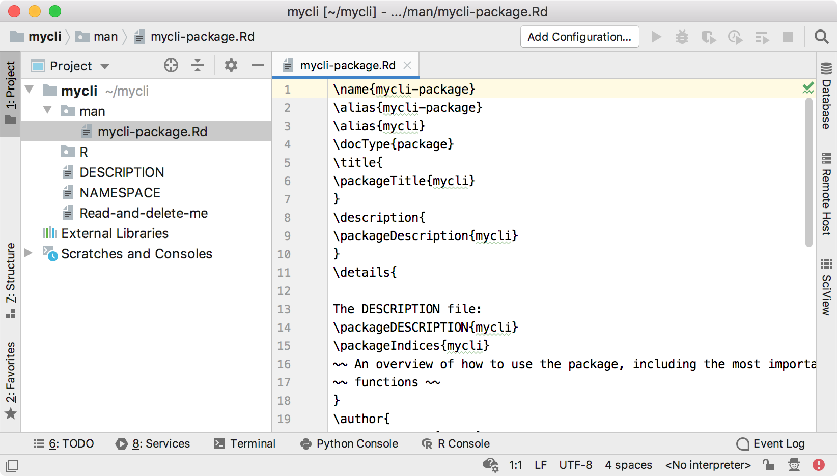 Default structure of an R package