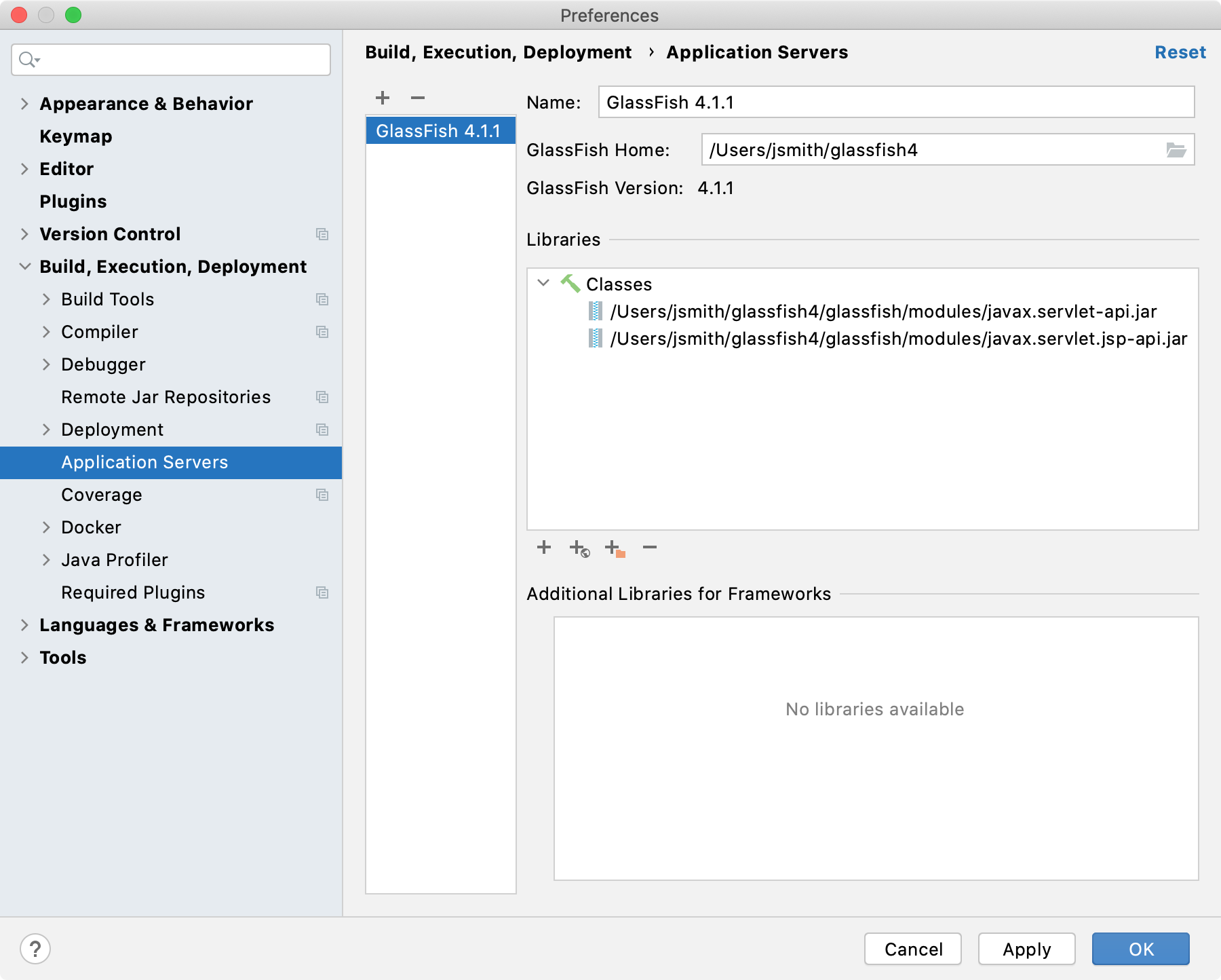 GlassFish application server configuration