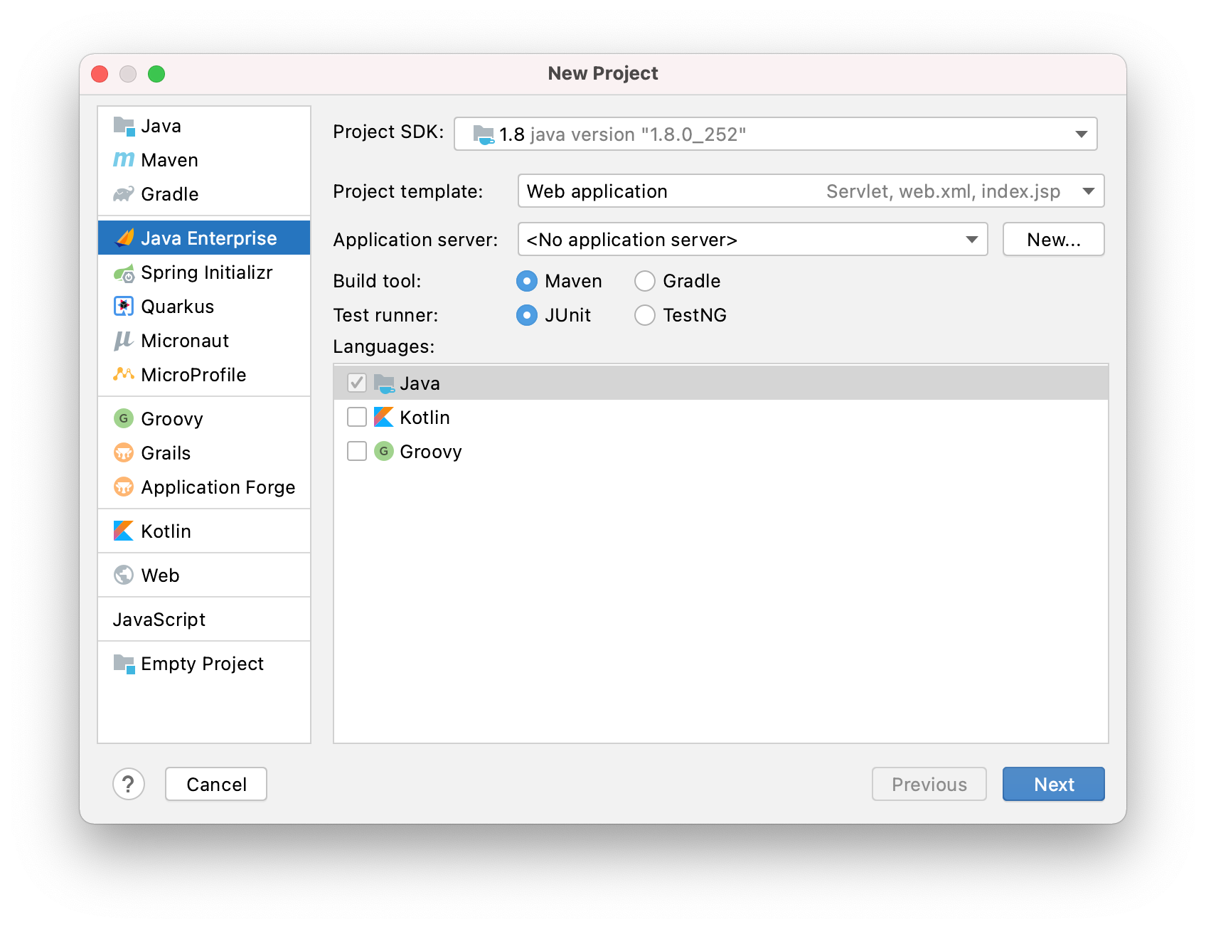 New Java Enterprise project wizard