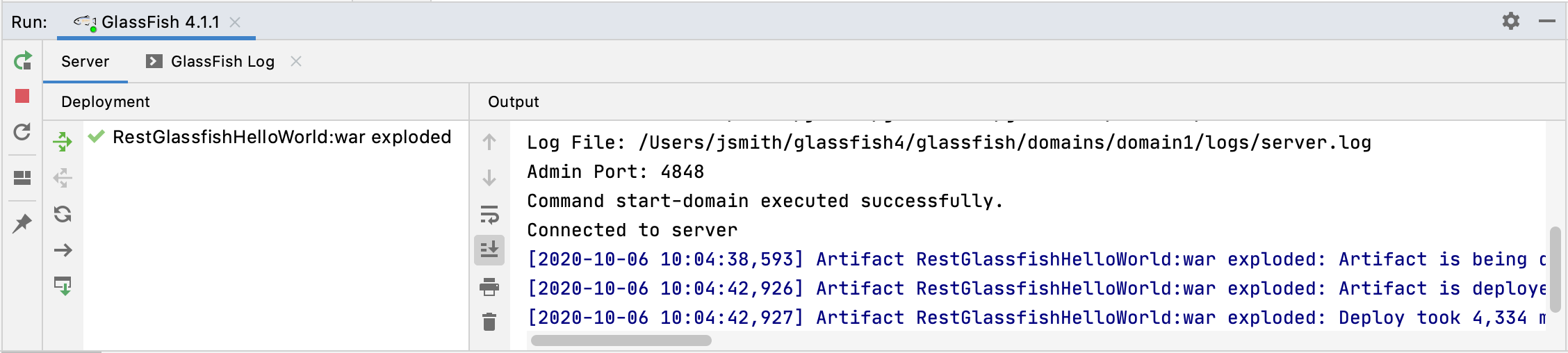 Started GlassFish server and deployed application in the Run tool window