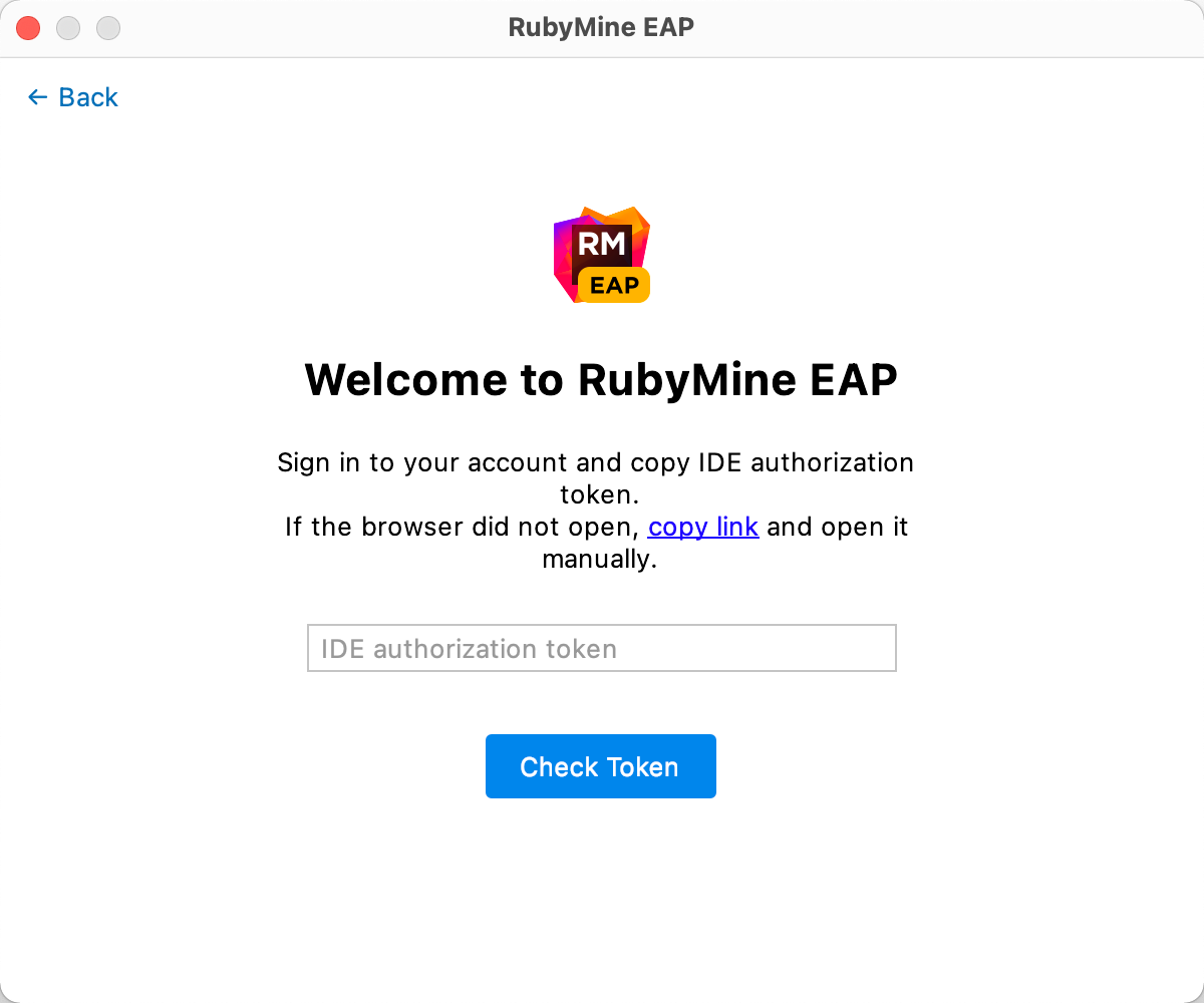 Copy the link to get an authorization token