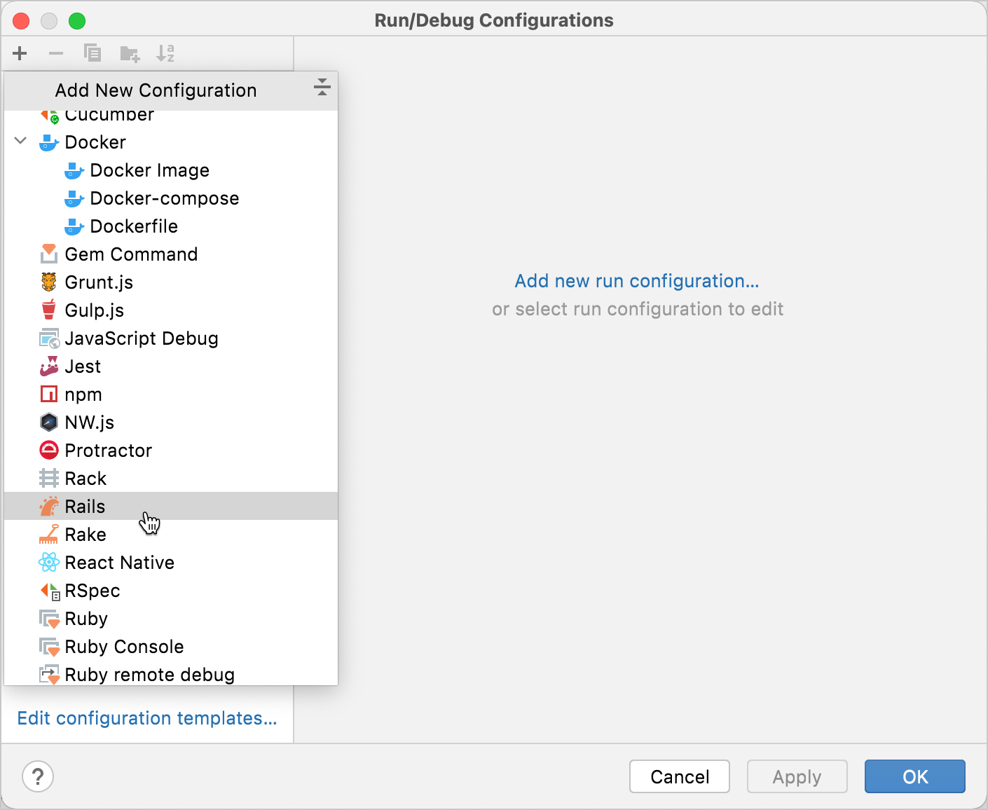 New run/debug configuration