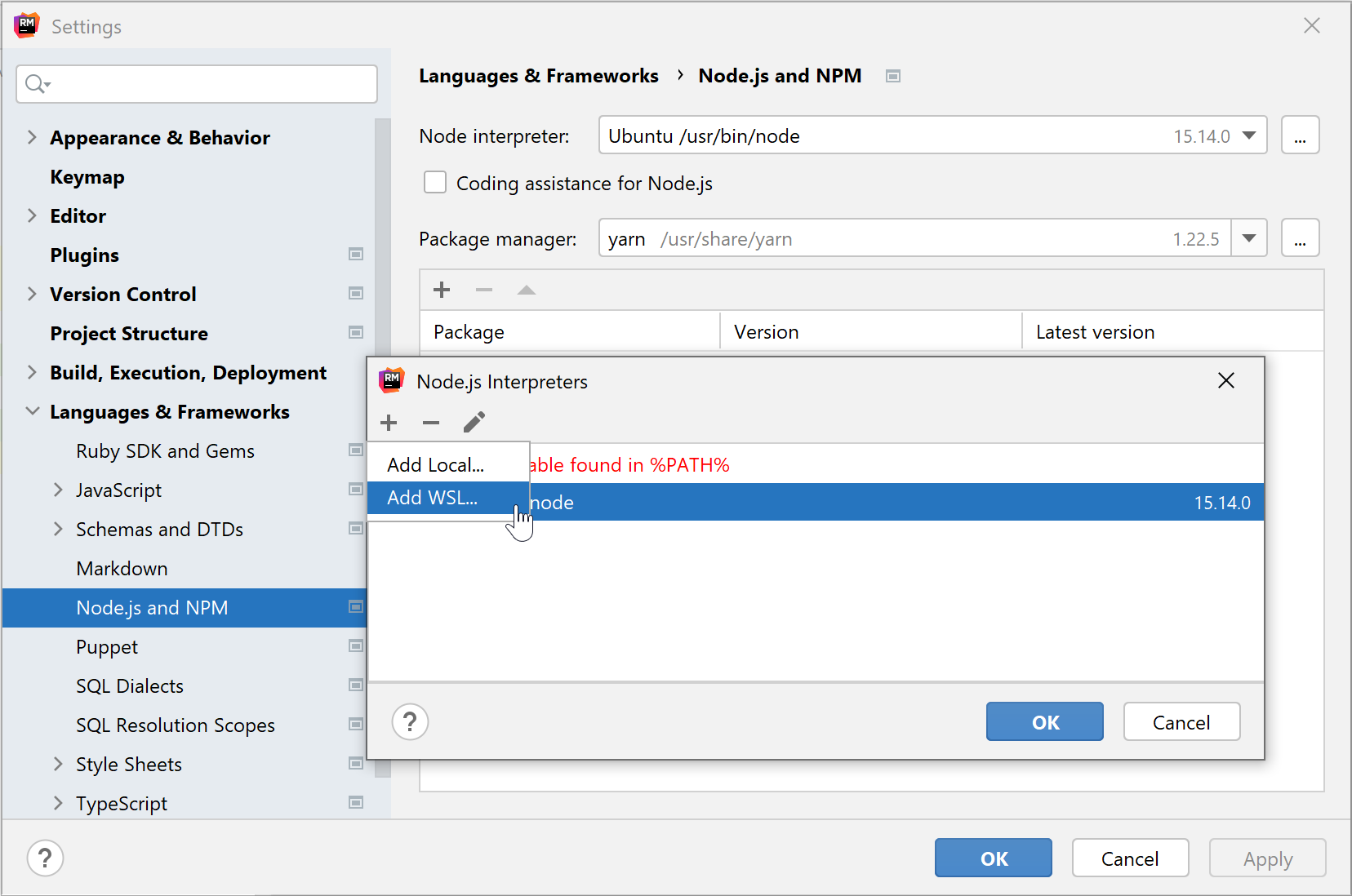 Configure WSL Node.js interpreter: add WSL