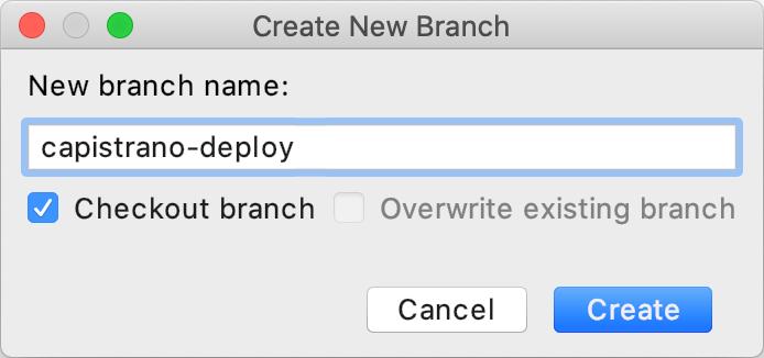 Create New Branch dialog