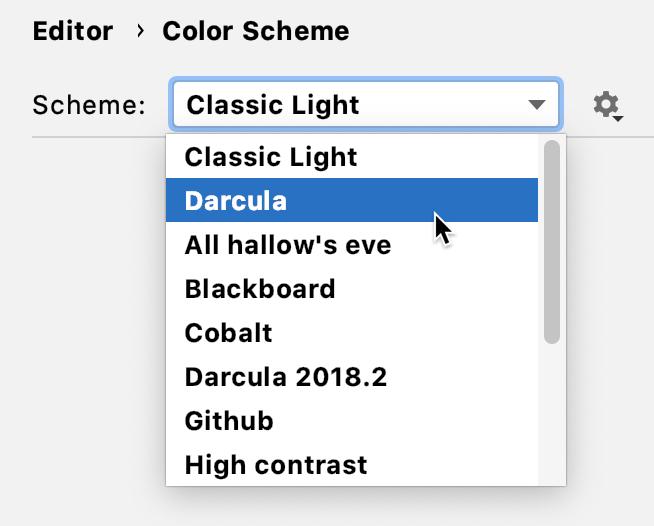 Select the color scheme