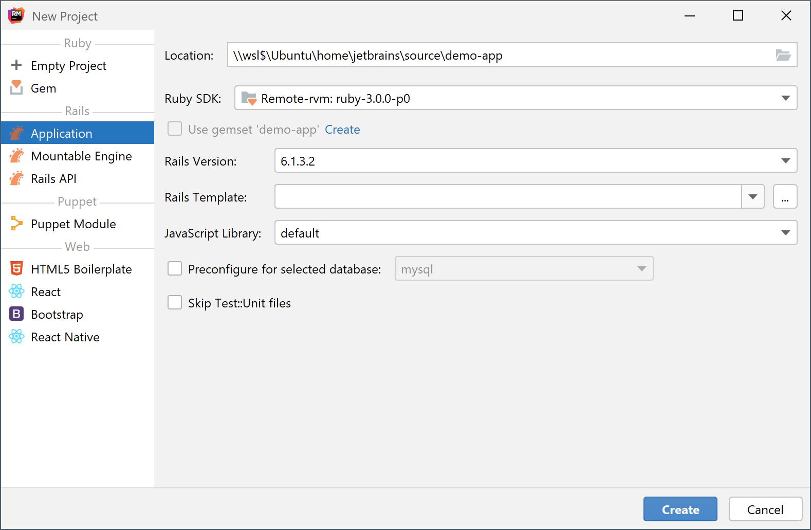 Create a project in WSL