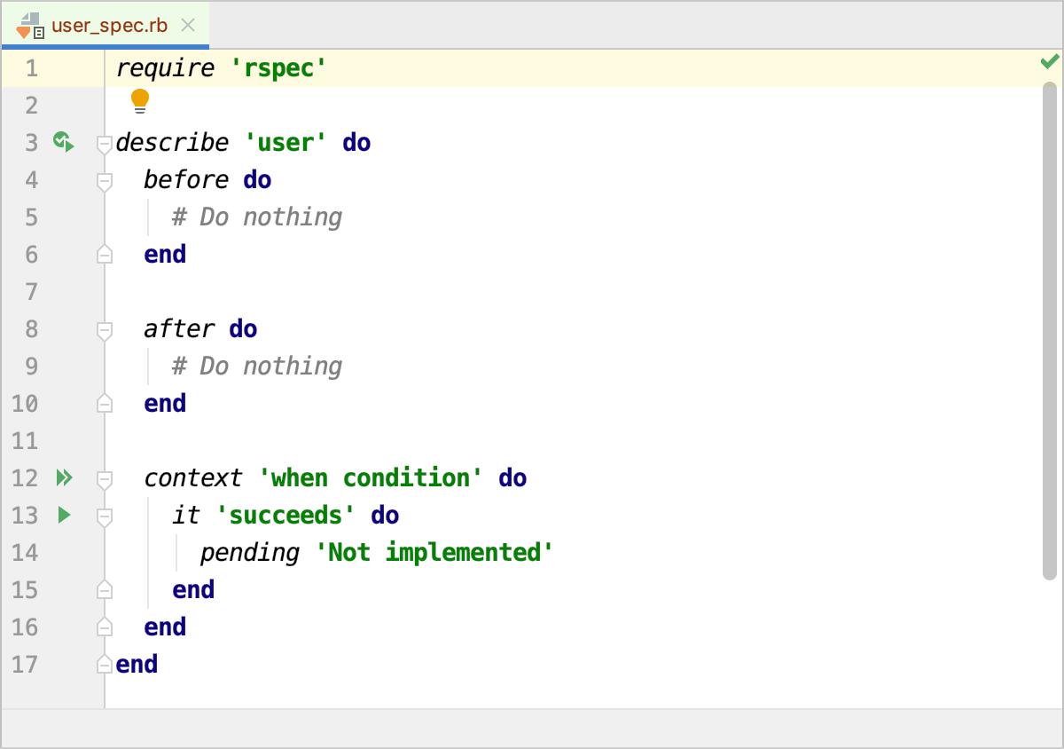 RSpec template editor