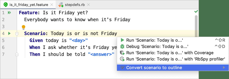 Convert scenario to outline