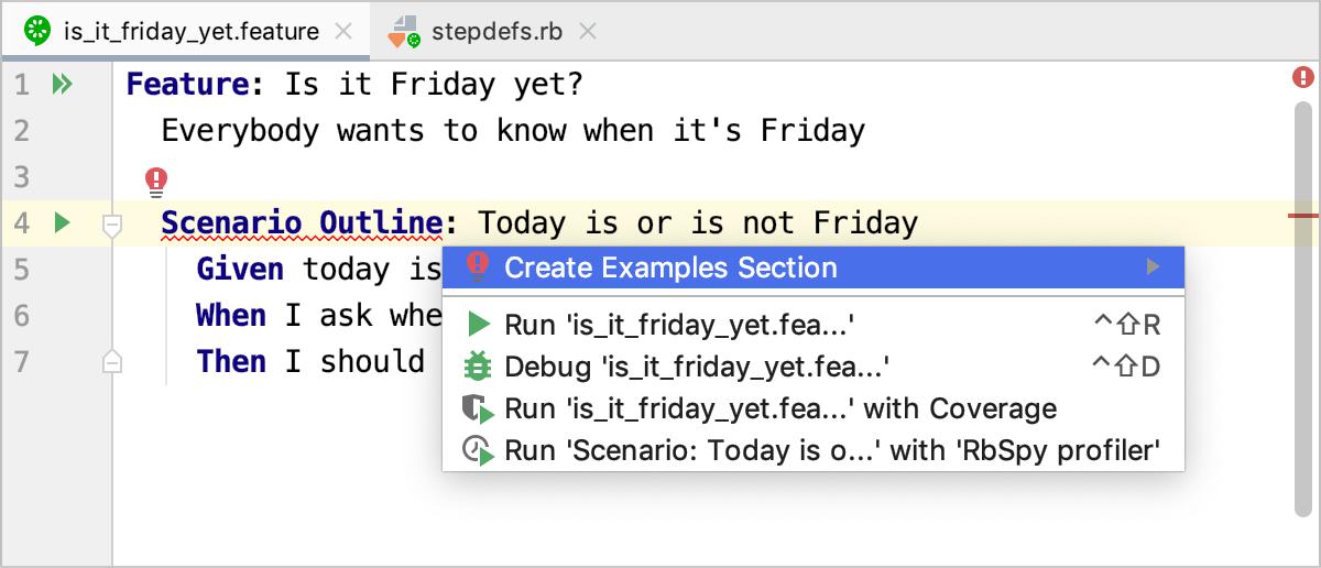 Create Examples in Scenario Outline