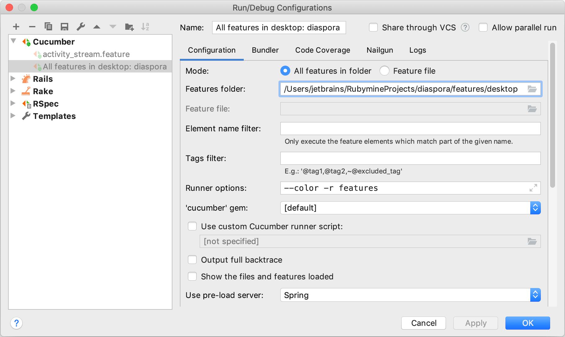 Run/Debug Configurations