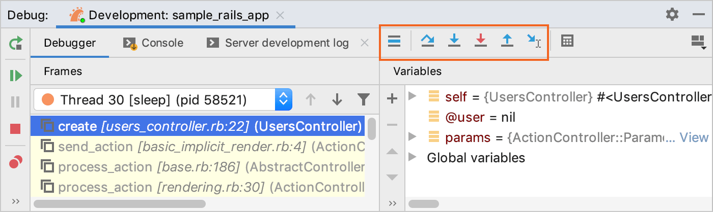 Stepping buttons in the Debug tool window