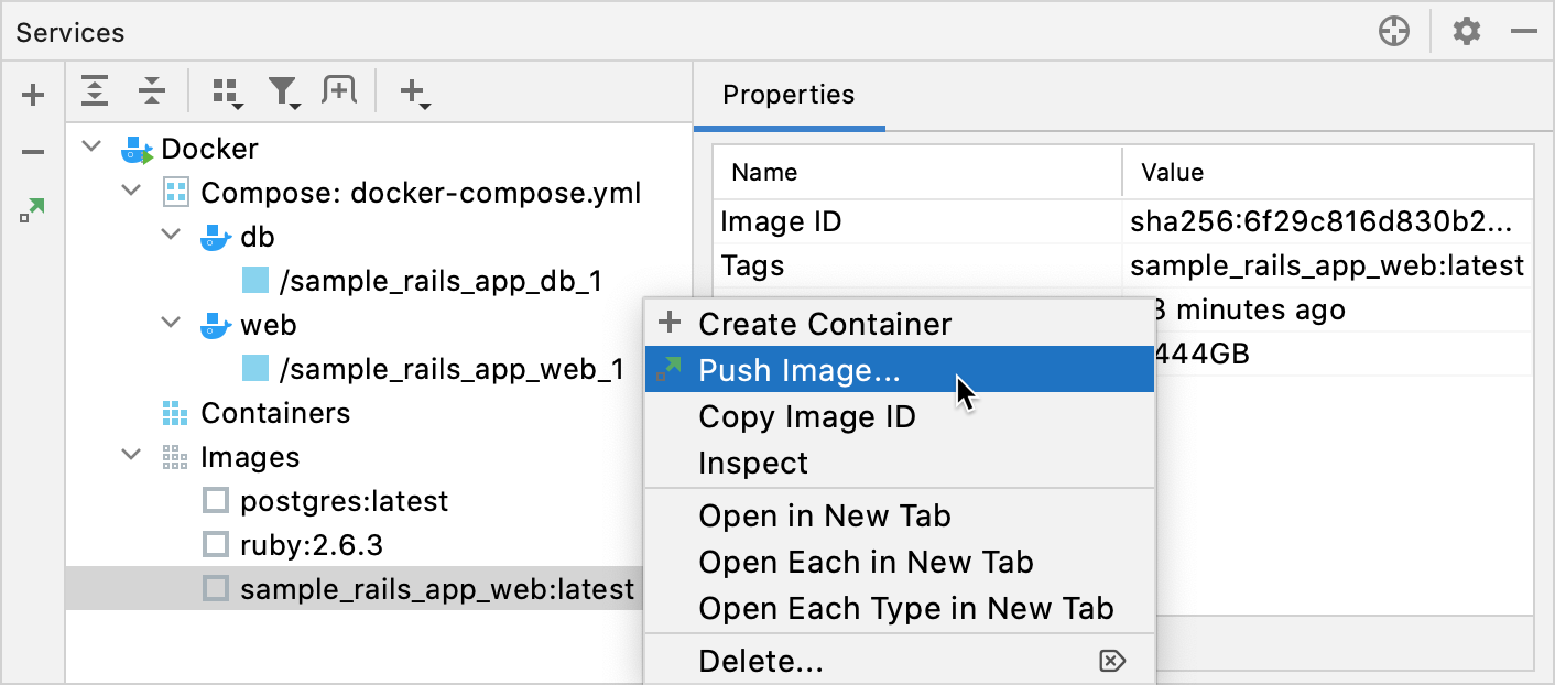 The Push Image context menu item