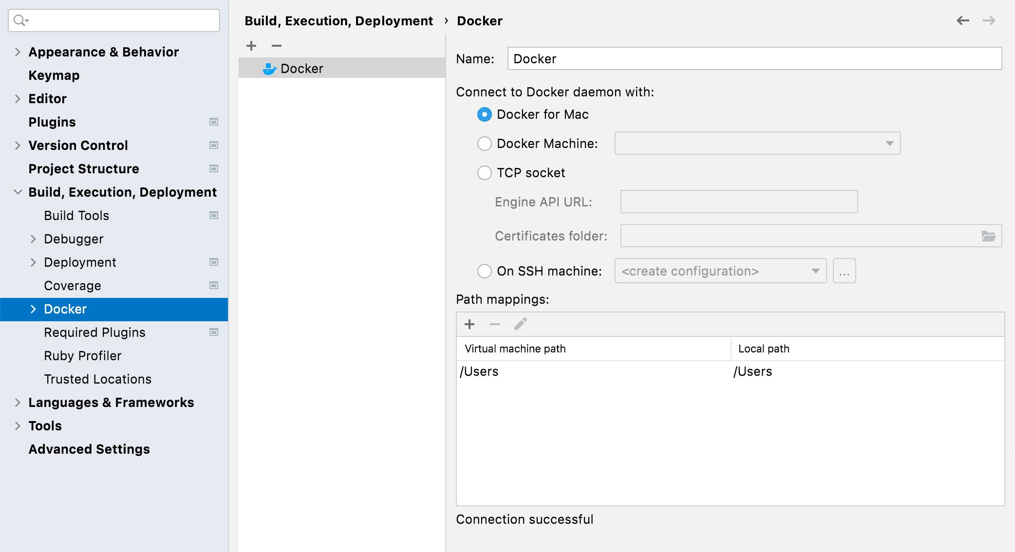 Docker connection settings