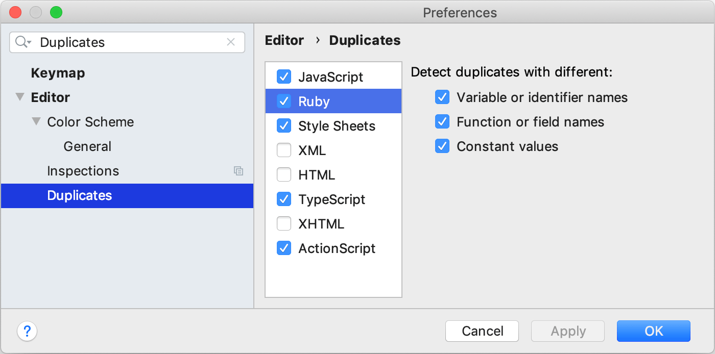 Ignore names and values while searching for duplicates