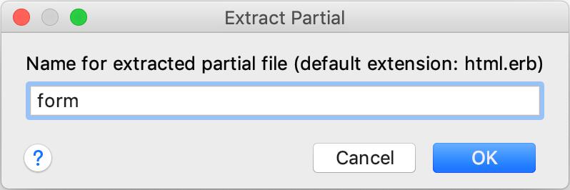 Extract Partial dialog