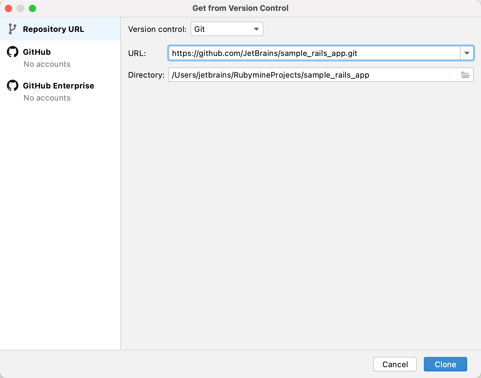 Get from Version Control dialog