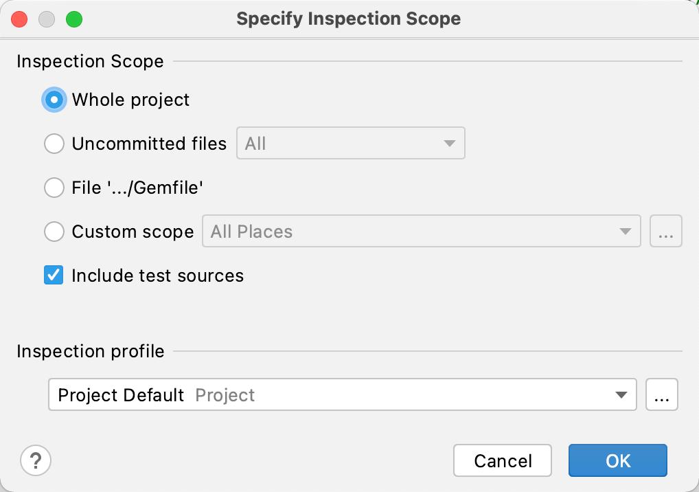 Inspection scope