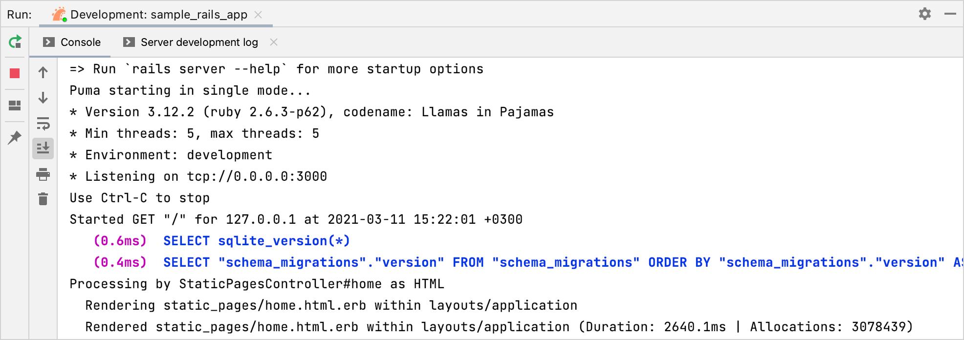 Run tool window / run Rails application