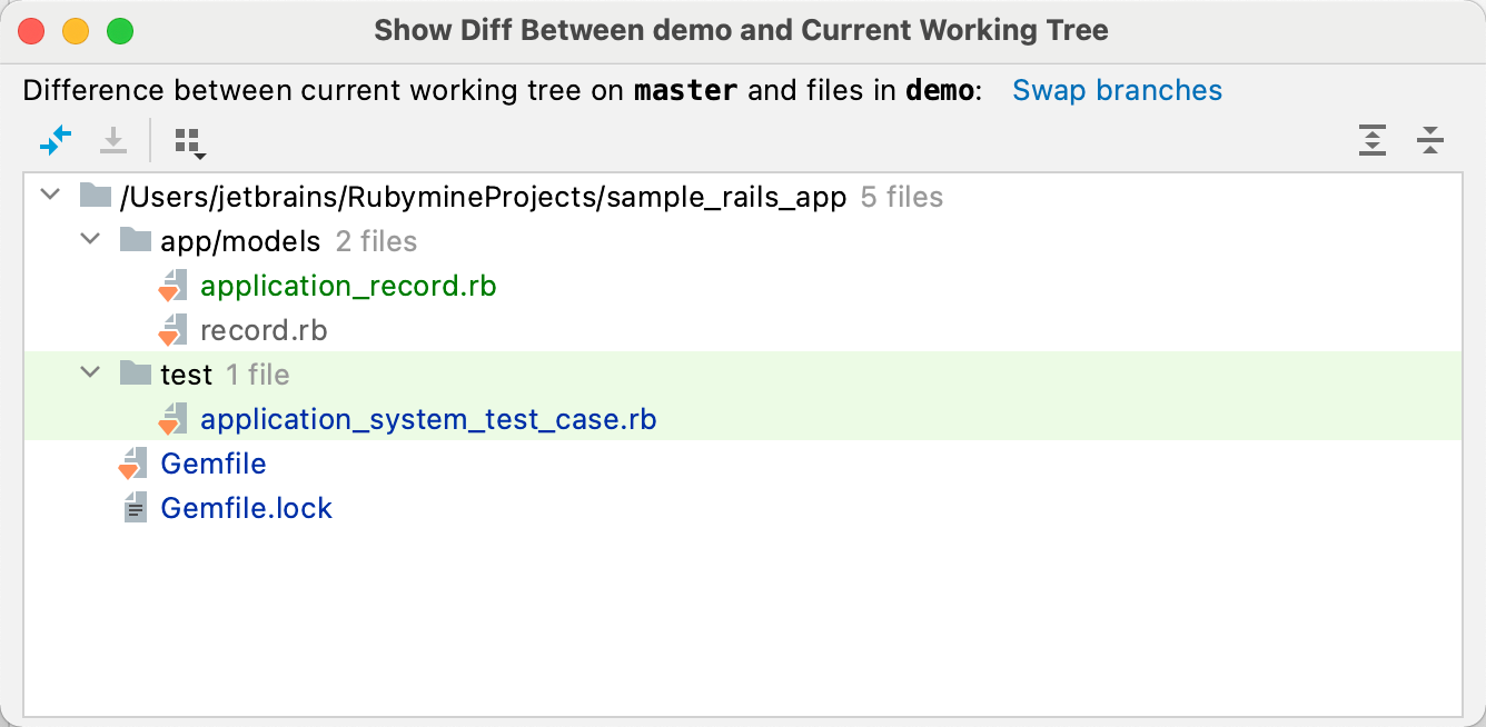 Show diff between selected branch and current working tree
