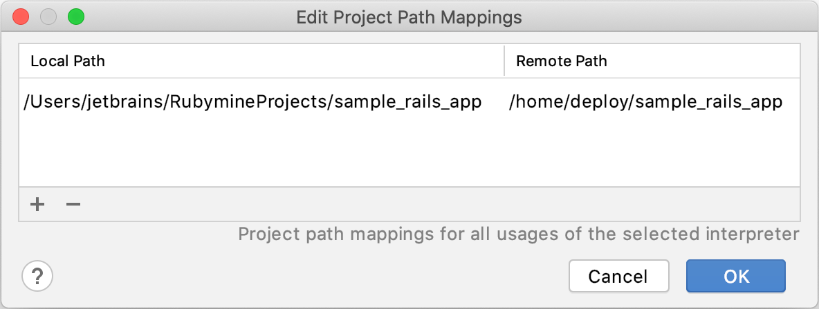 Edit Project Path Mappings