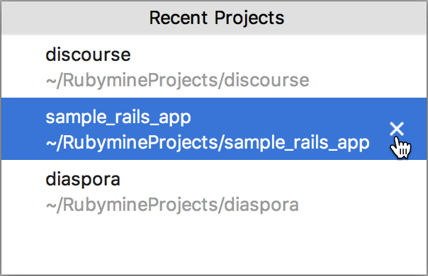 Remove a recent project from the list of the recent projects
