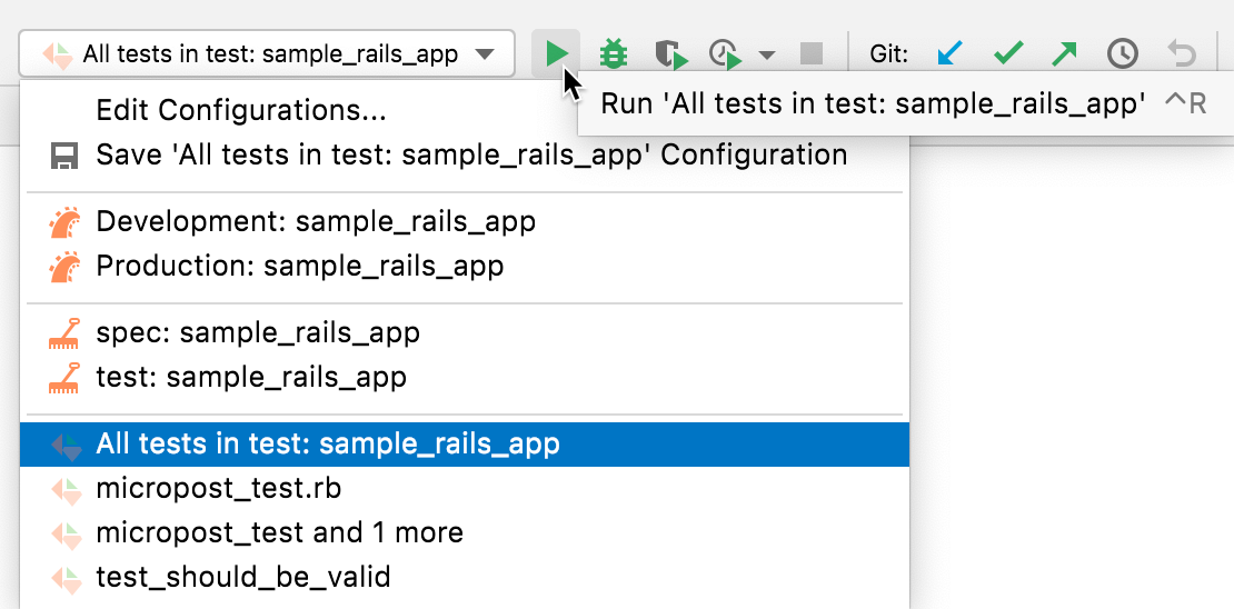 Running a run/debug configuration for tests