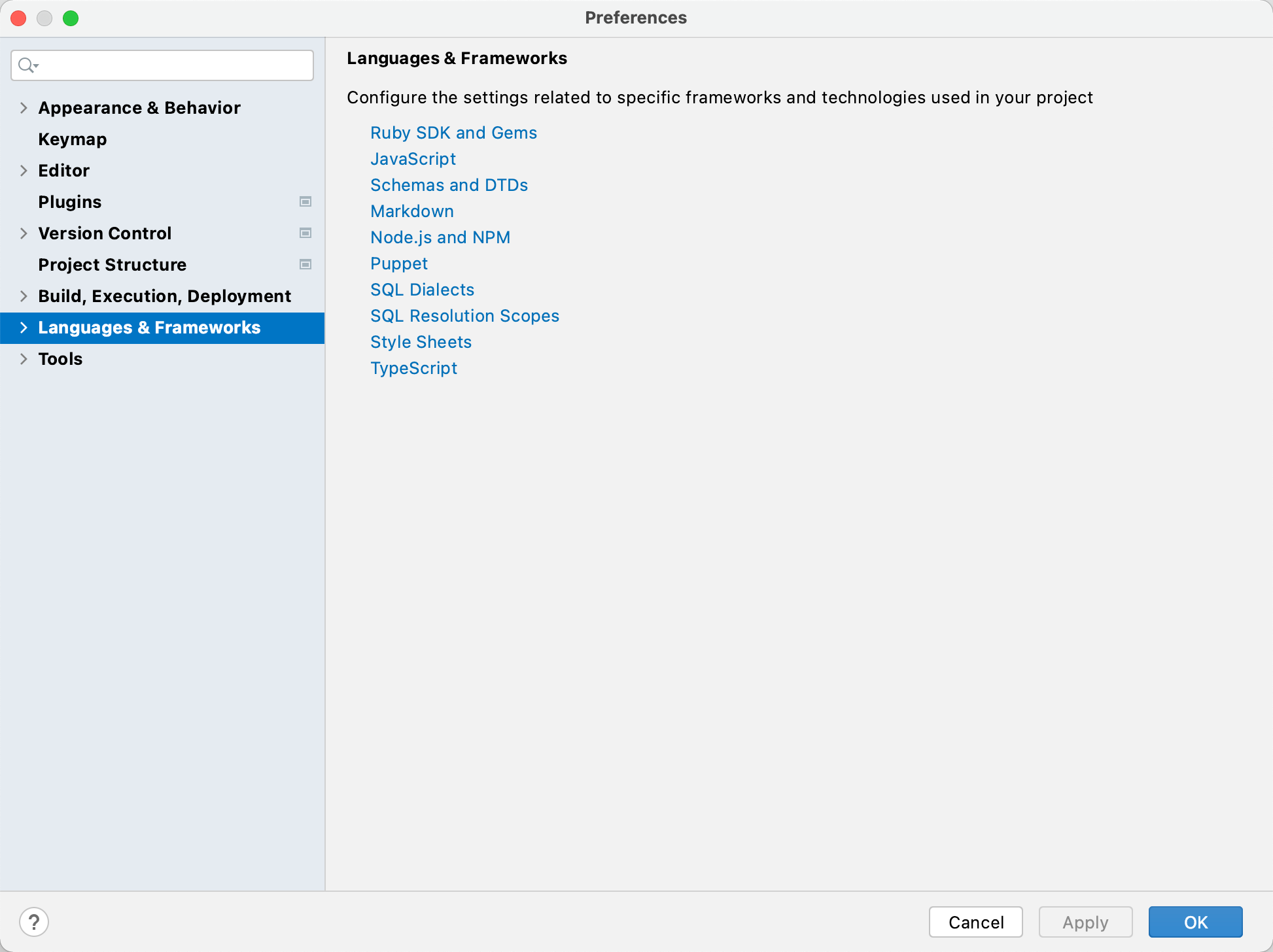 Settings: Languages and Frameworks