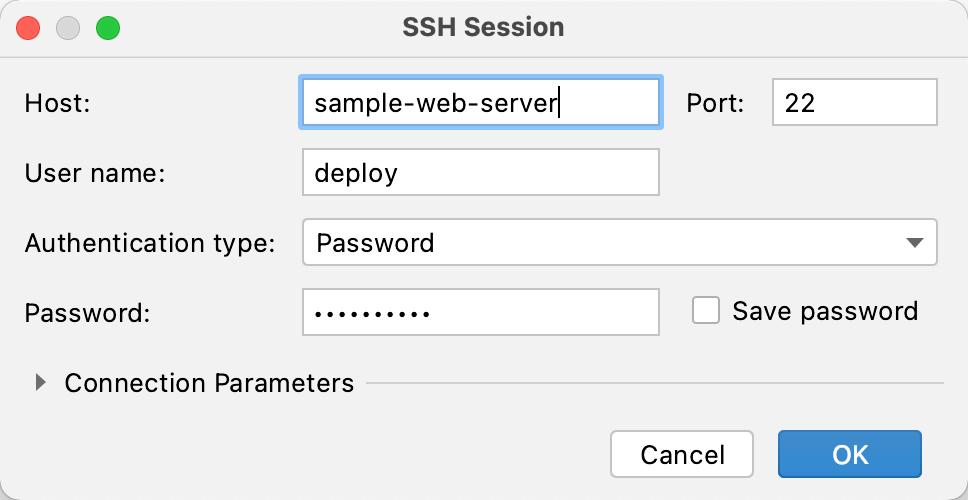 SSH Session dialog