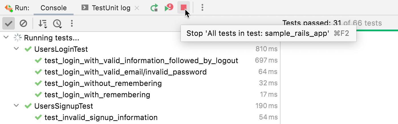 Stop running tests