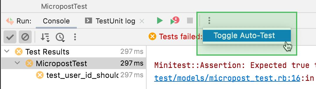 The Toggle Auto-Test option