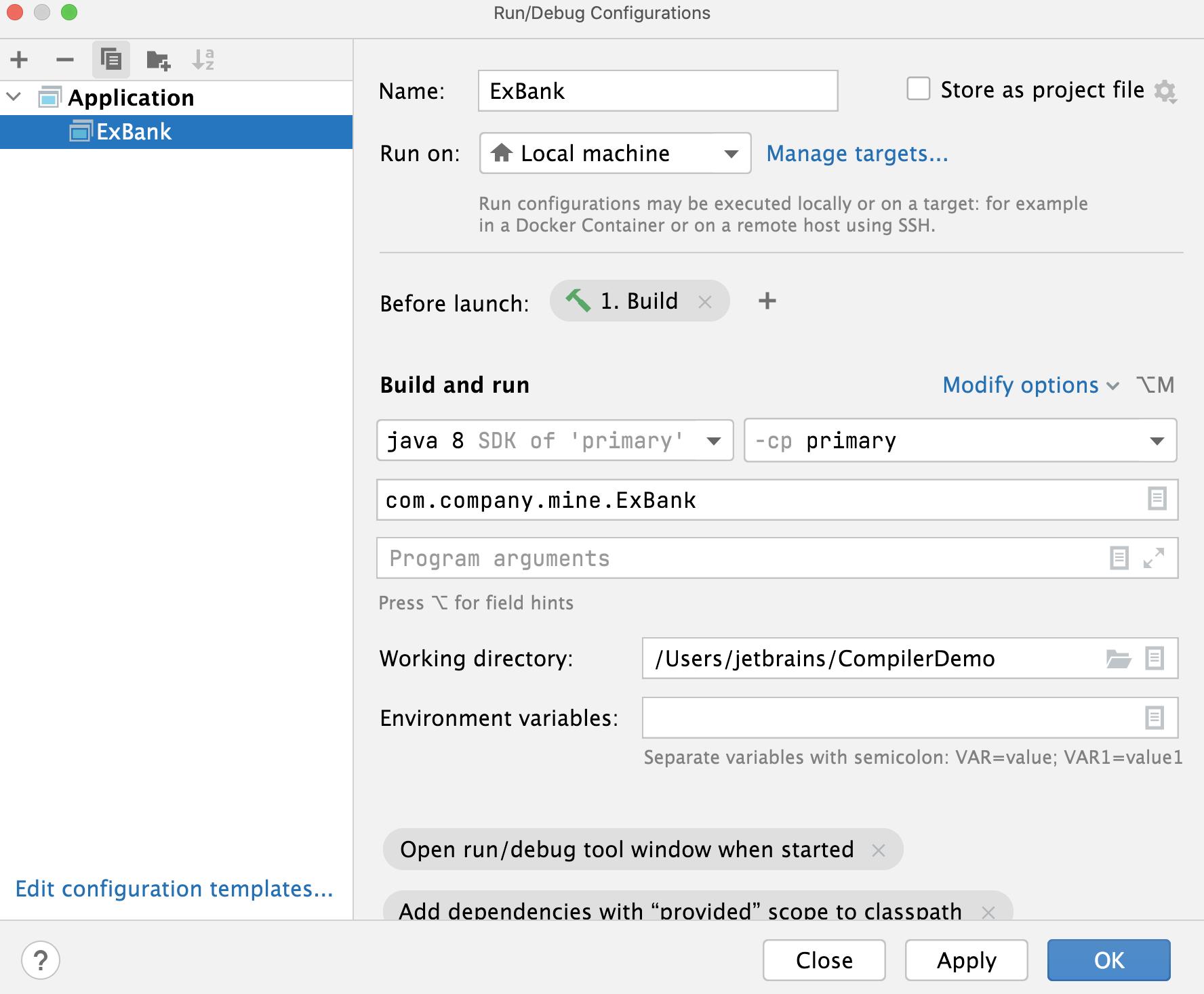 Run/Debug Configuration dialog: Before launch
