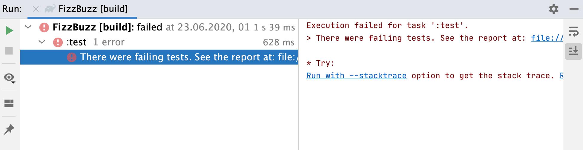 Run tool window: build with failed test