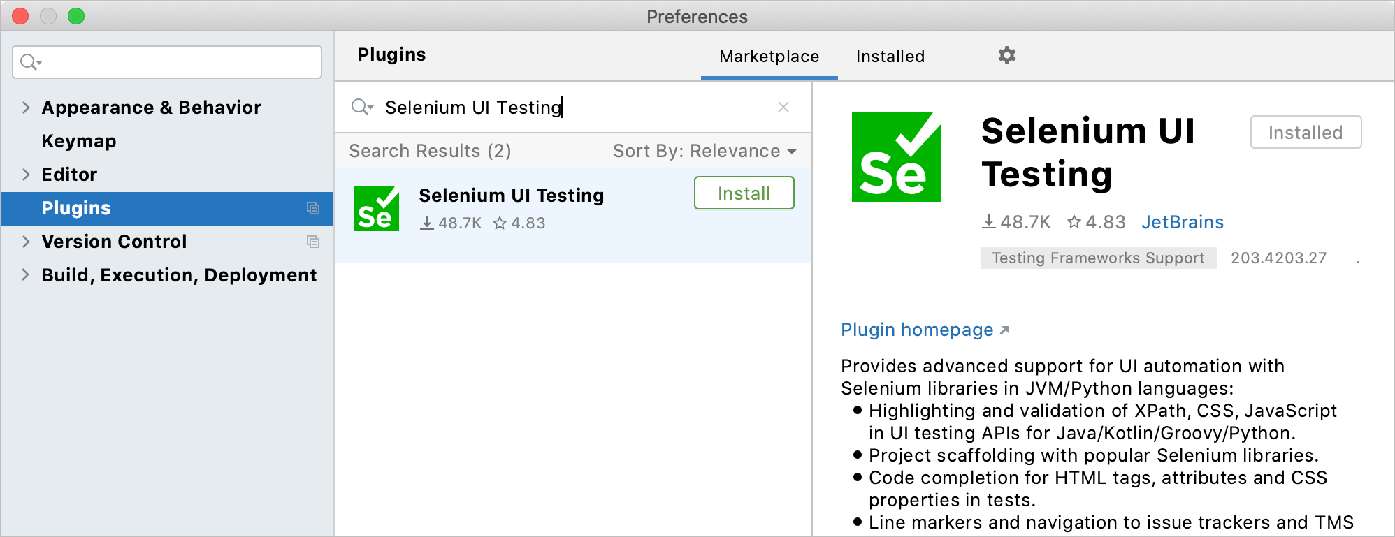 Installing the Selenium UI Testing plugin plugin
