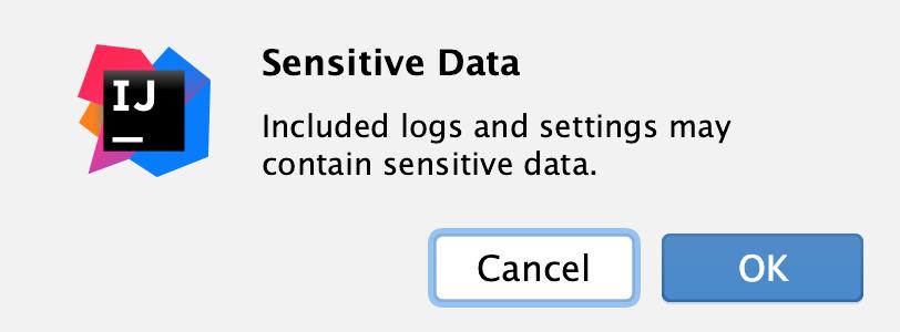 the Sensitive Data dialog