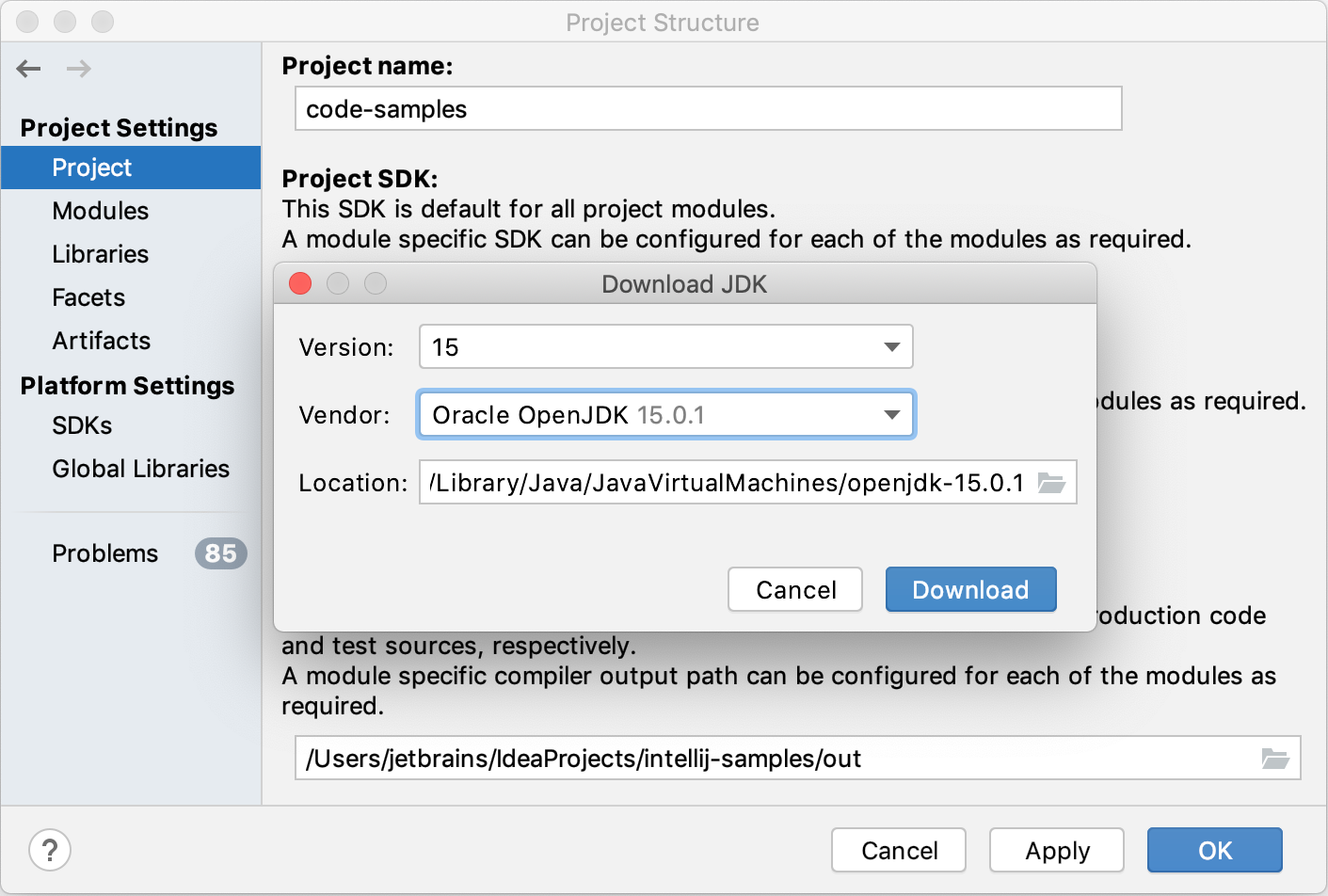 Setting up the JDK for a project
