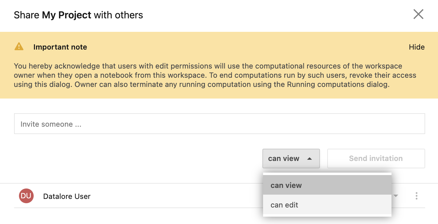 Share workspace dialog