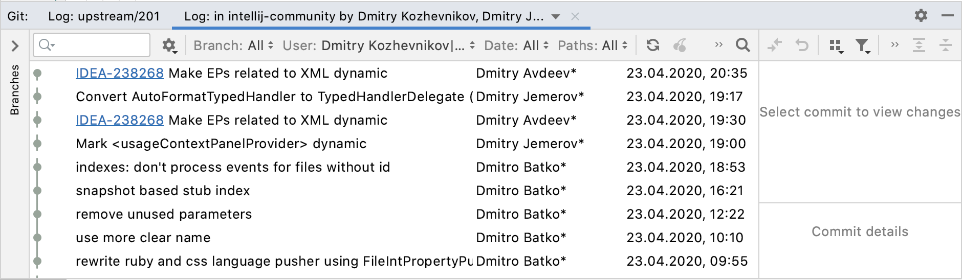 Log tab in the Git tool window filtered by username