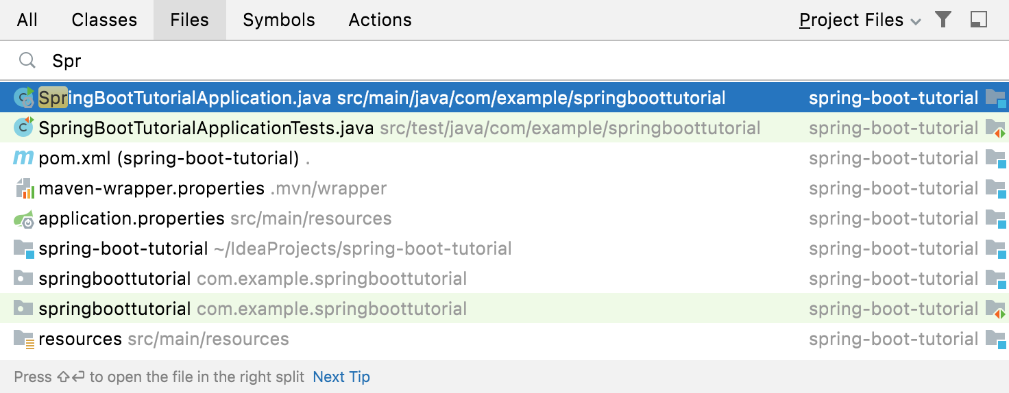Using Go To File to open SpringBootTutorialApplication.java