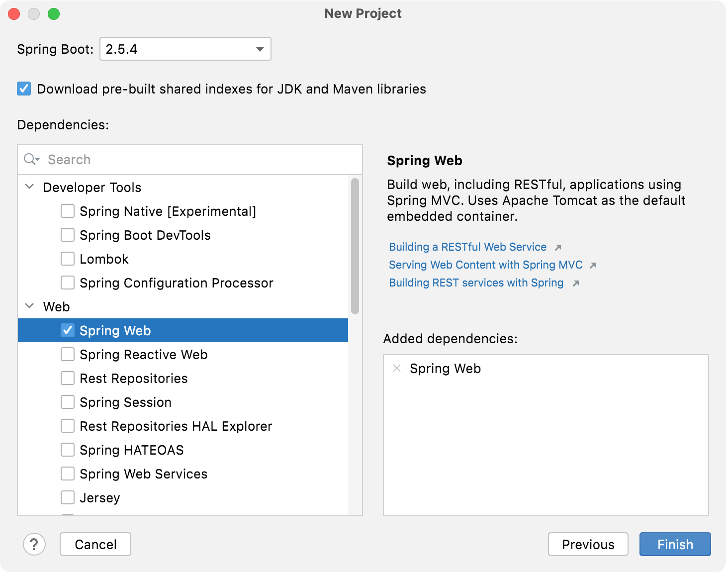 Spring Dependencies in the New Project wizard