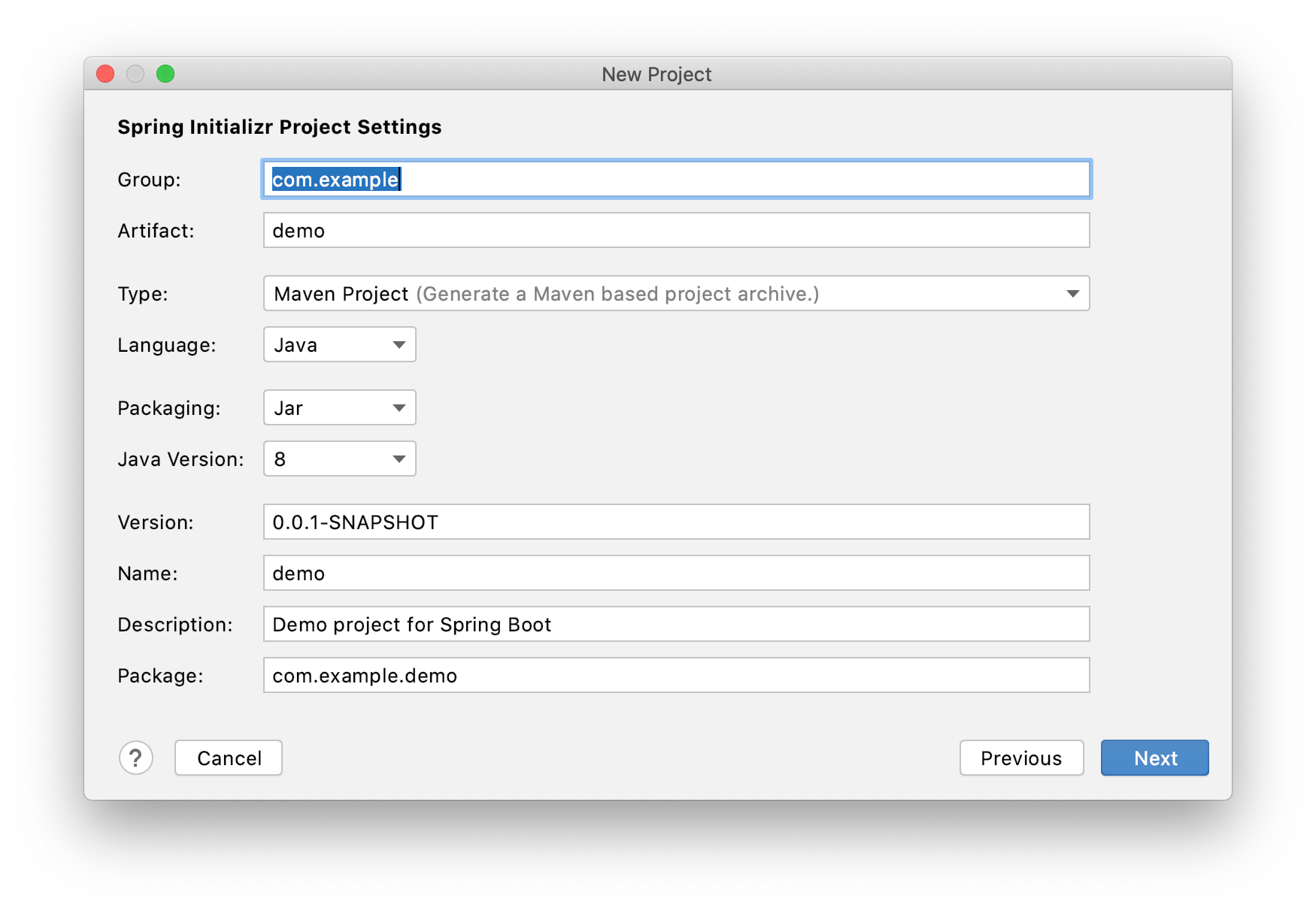 Spring Initializr Project Settings