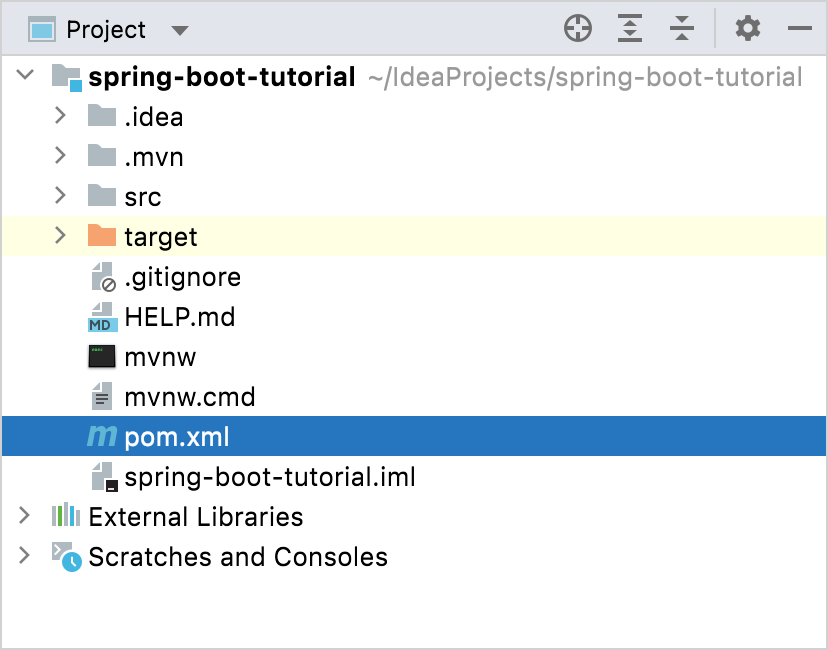 The pom.xml file in the project root directory